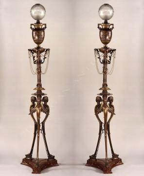 H. Cahieux & F. Barbedienne<br />Pair of neo-Greek floor lamps