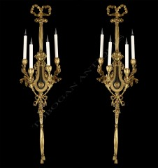 "H. DassonPair of ""Lyre"" wall-lights"