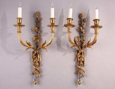 Paire d'appliques style Louis XVI bronze Vian Tobogan Antiques Paris antiquités XIXe siècle