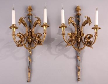 paire d'appliques de style Louis XVI bronze Prieur Tobogan Antiques Paris antiquités XIXe siècle