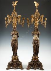 """L.C. Sévin & F. BarbediennePaire de candélabres """"caryatides"""""""