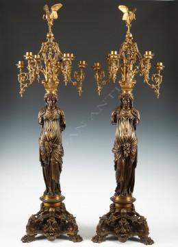 """L.C. Sévin & F. Barbedienne<br />Pair of """"cariatid"""" candelabras"""
