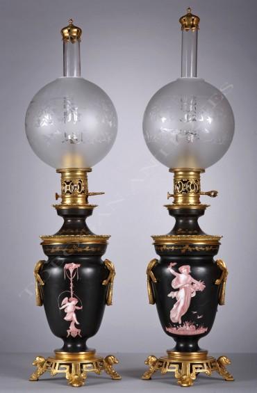 Paire de lampes néoclassiques Tobogan Antiques Paris antiquités XIXe siècle