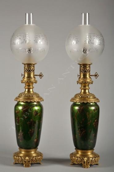 Paire de lampes Napoléon III églomisé Tobogan Antiques Paris antiquités XIXe siècle