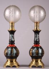 Paire de lampes porcelaine pompéien Tobogan Antiques Paris antiquités XIXe siècle