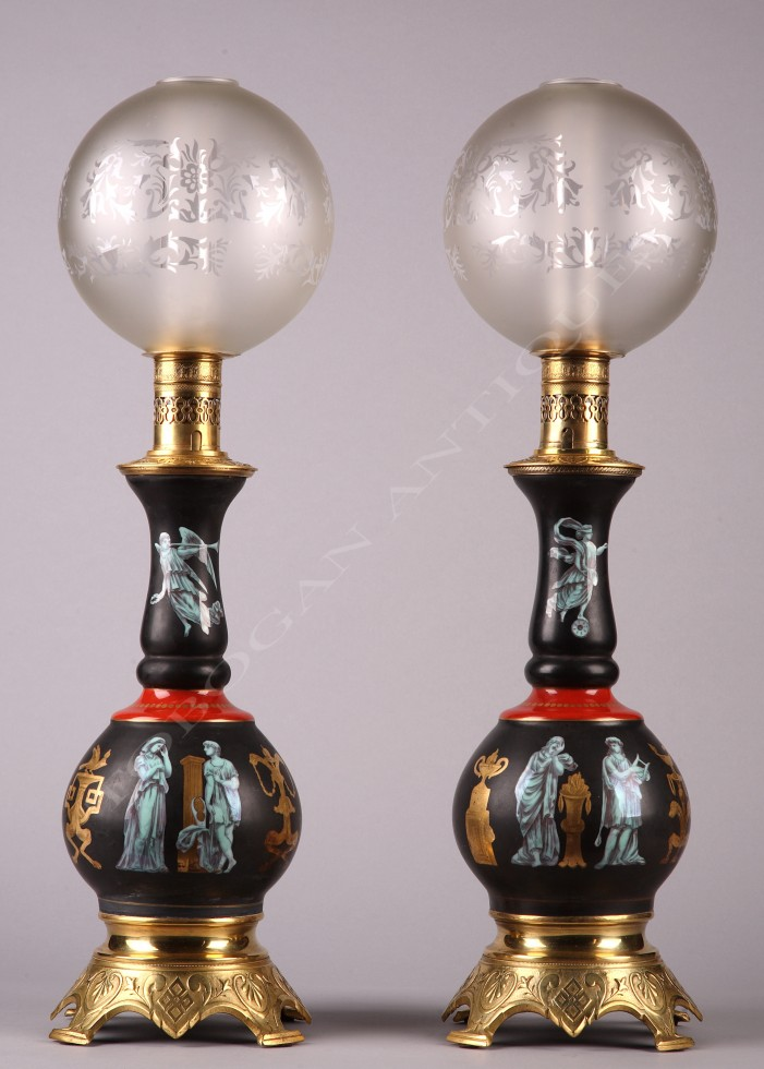 Pair of Pompeian style<br />porcelain lamps