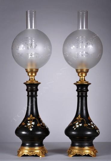 Paire de lampes porcelaine Tobogan Antiques Paris antiquités XIXe siècle