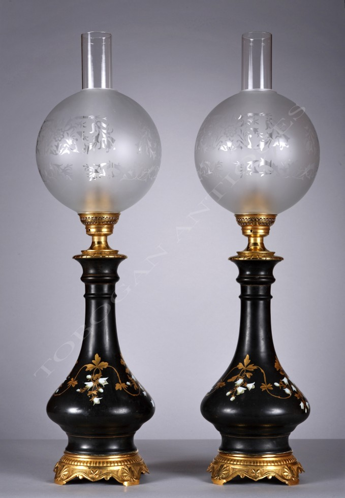 Pair of Black Porcelain <br/> Lamps