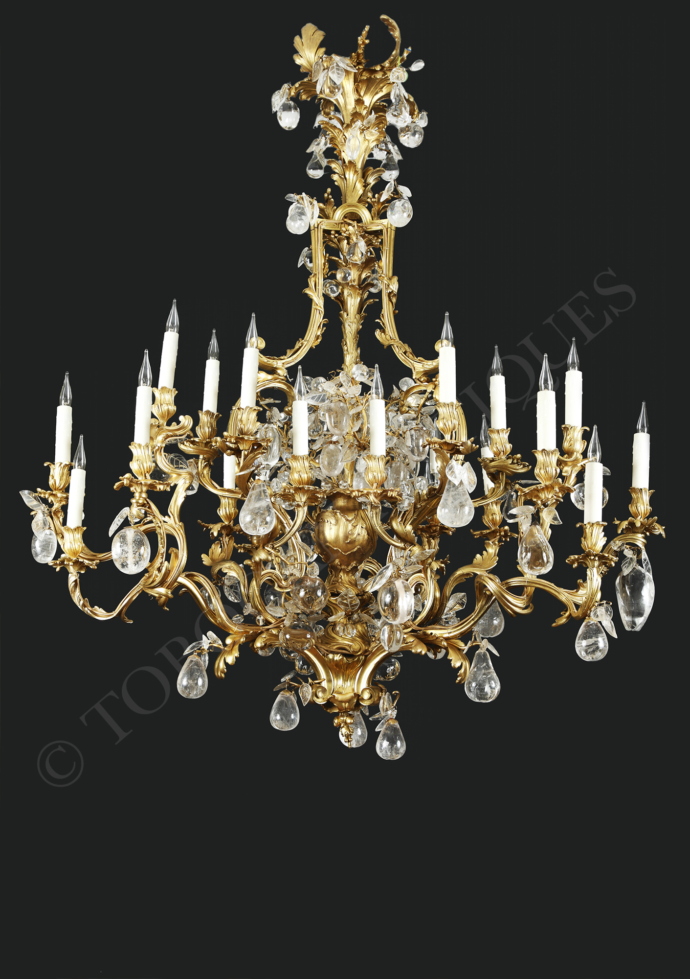 Linke & Message Rare Rock Crystal Chandelier Tobogan Antiques