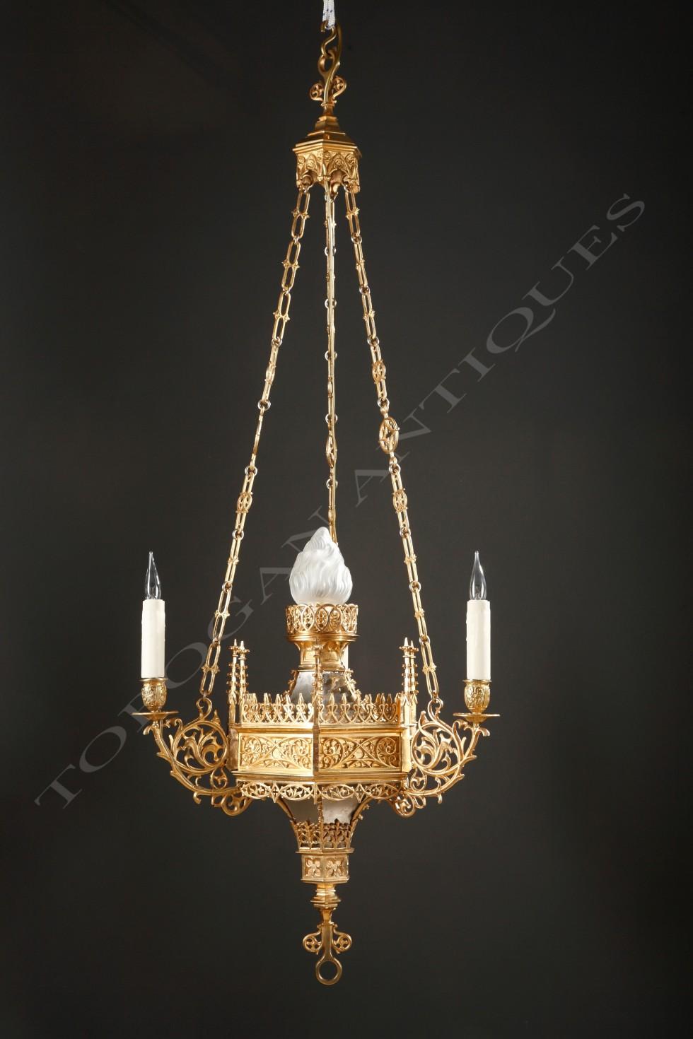 F. Barbedienne<br />Neo-Gothic chandelier
