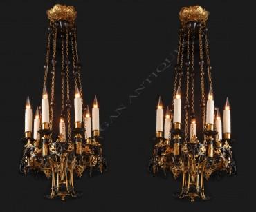 Paire de lustres Orientalisants bronze Tobogan Antiques Paris antiquités XIXe siècle