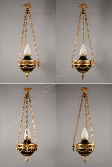 Suite de 4 suspensions de style Louis XVI bronze Tobogan Antiques Paris antiquités XIXe siècle