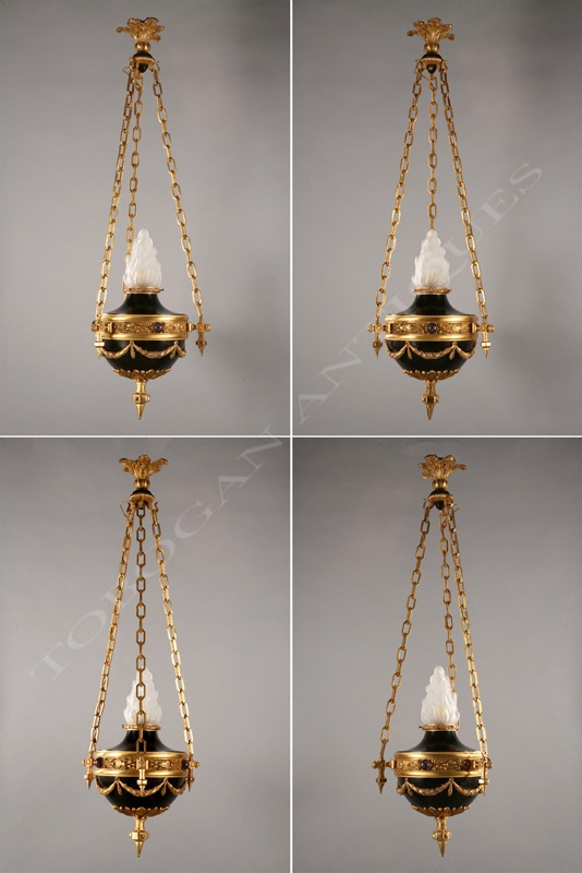 Set of 4 neo-classical ceiling lamps