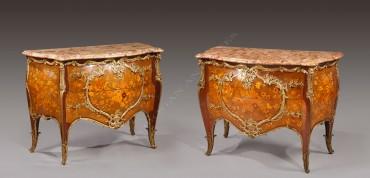 Exceptionnelle paire de commodes Messagé Zwiener Tobogan Antiques Paris antiquités XIXe siècle