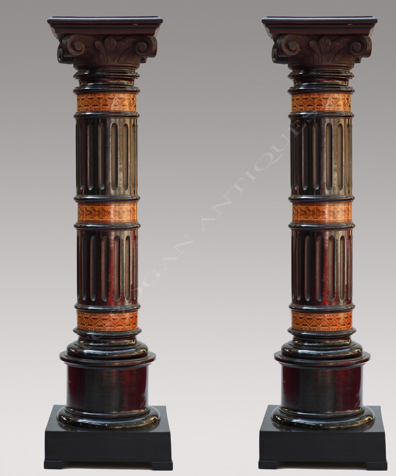 A Fine Pair of Black Wood Columns