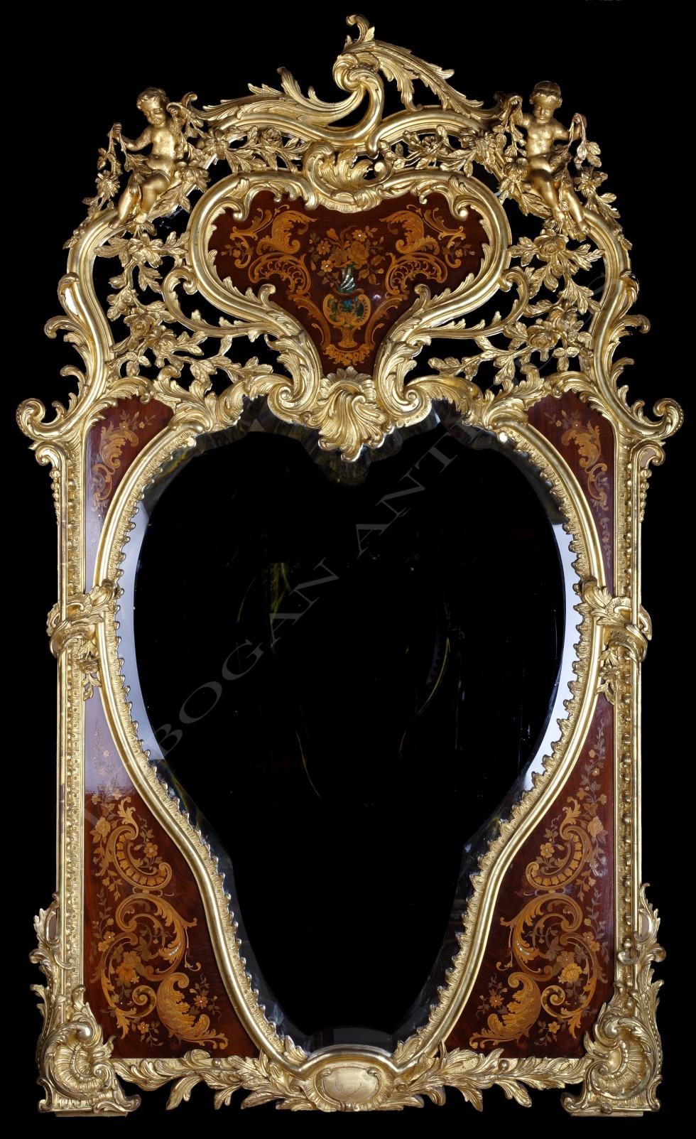 Miroir d'apparat <br/> marqueterie et bois doré