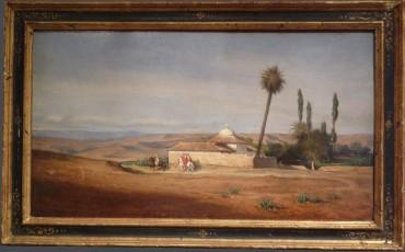 """""""Cavaliers près d'une oasis"""" Brun peinture Tobogan Antiques Paris antiquités XIXe siècle"""