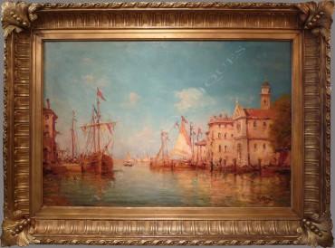 "Tableau peinture ""Port de Martigues"" Malfroy Tobogan Antiques Paris antiquités XIXe siècle"