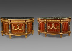 "A.-E. Beurdeley  Sumptuous pair of Louis XVI style ""Meubles d'appui"""