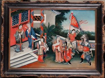 """""""Scène de Cour"""" Fixé-sous-verre peinture tableau Tobogan Antiques Paris antiquités XIXe siècle"""