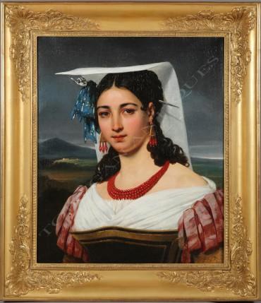 Neapolitan Woman Court peinture tableau Tobogan Antiques Paris antiquités XIXe siècle
