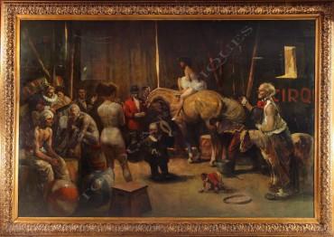 """""""Avant le Spectacle"""" Markos peinture tableau Tobogan Antiques Paris antiquités XIXe siècle"""