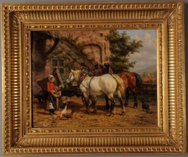 """""""Cour de ferme"""" W.J. van den Berghe peinture tableau Tobogan Antiques Paris antiquités XIXe siècle"""