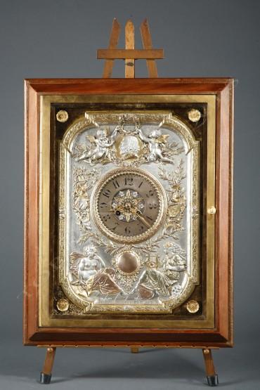 Pendule chevalet Elkington horlogerie Tobogan Antiques Paris antiquités XIXe siècle