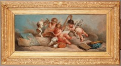 """Putti painting a portrait"""