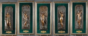 """""""Les cinq sens"""" Gladenbeck bronze sculpture Tobogan Antiques Paris antiquités XIXe siècle"""
