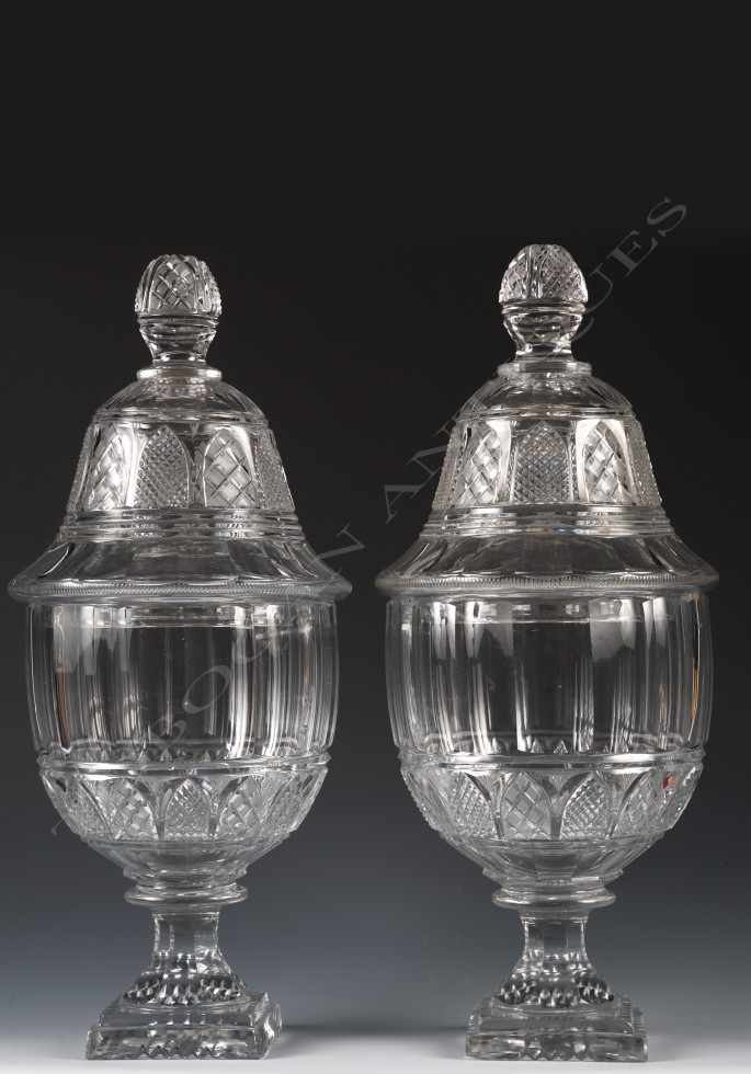 Baccarat<br />Pair of crystal covered vases