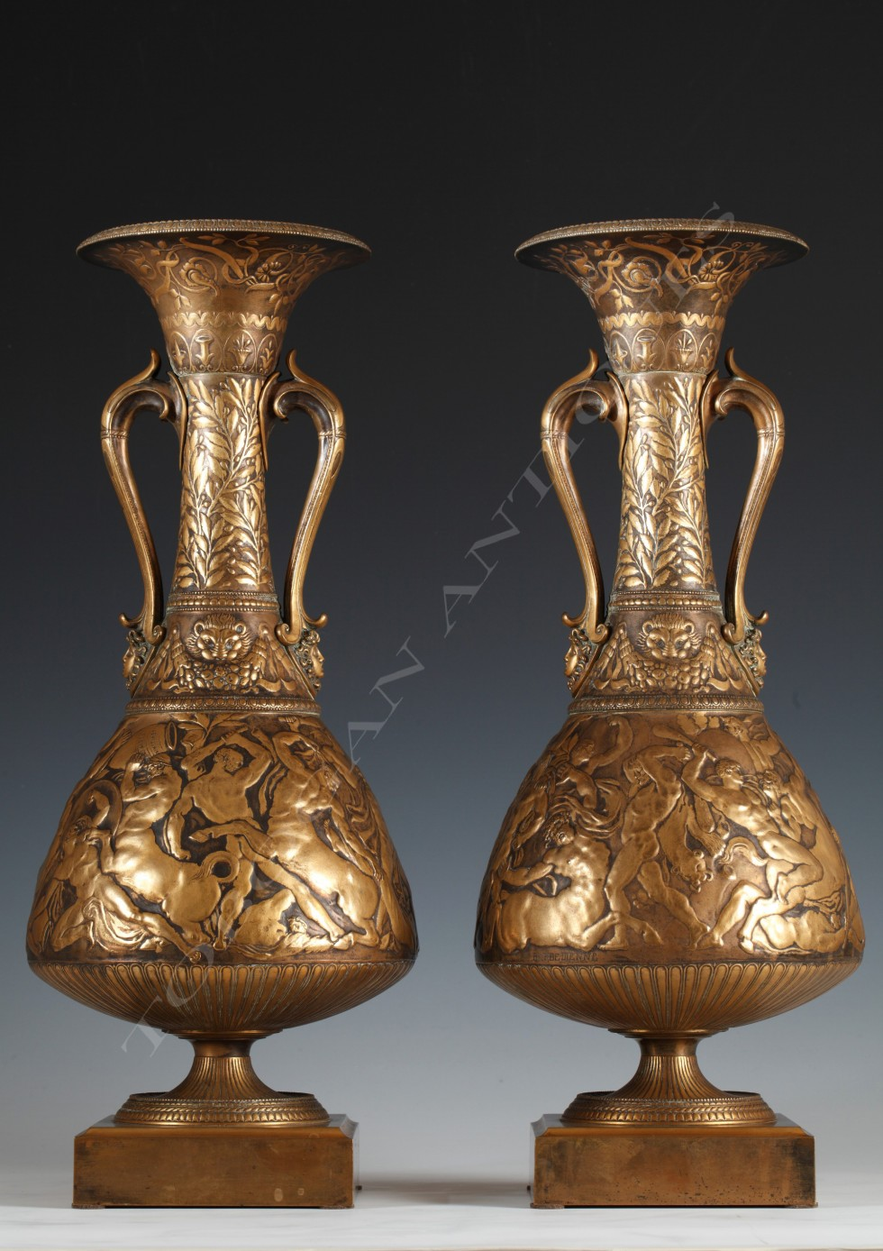 F. Levillain & F. Barbedienne<br/> Pair of Greek Revival Vases