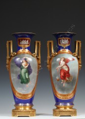Porcelain manufacture of Berlin Pair of ormolu porcelain vases
