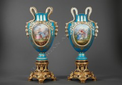 """Sèvres""Pair of ormolu porcelain vases"