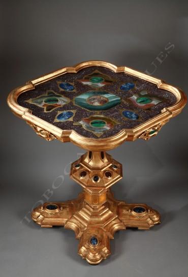 Table vénitienne bois doré mobilier Tobogan Antiques Paris antiquités XIXe siècle